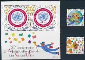 50 éves az ENSZ postaigazgatása sor + blokk, 50th anniversary of UN postal administration set + block
