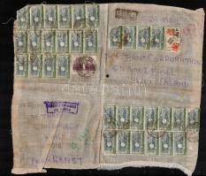 Csomagcímzés Svájcba rendkívül magas 339 Rupia bérmentesítéssel Parcel address to Switzerland with high franking (339 Rupia)