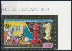 Nemzetközi gyermekév, sakk ívsarki aranyfóliás bélyeg International Children's Year, Chess corner golden-foiled stamp