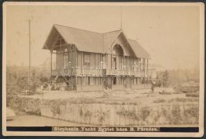 cca 1900 Stephania Yacht Egylet háza Balatonfüreden, (ma: Vitorlás étterem), keményhátú fotó, a fotón feliratozva, 11x16 cm.