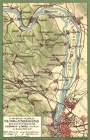 A Magyar Királyi Folyam- és Tengerhajózási Rt. Budapest-Dömösi vonala, térkép, hátoldalon MFTR reklám / Hungarian river and sea shipping map, advertisement on the backside