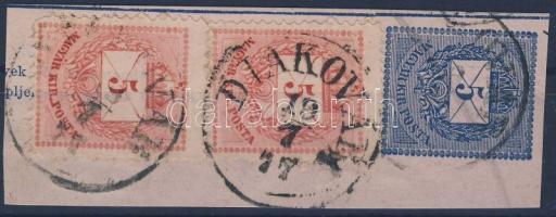 1874 2x5kr 5kr díjjegyes pénzutalvány kivágáson DIAKOVÁR