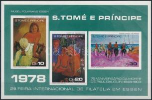Nemzetközi Bélyegkiállítás: Essen; Festmények vágott blokk International Stamp Exhibition: Essen; Paintings imperforated block