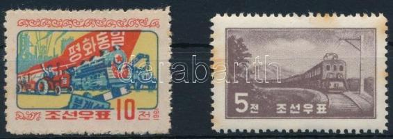 1959-1961  2 railway stamps (Mi EUR 47,-) (stain), 1959-1961 2 klf Vonat bélyeg  (Mi EUR 47,-) (rozsda)