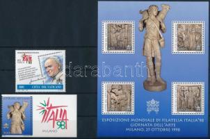 Nemzetközi Bélyegkiállítás  ITALIA '98 sor + blokk International Stamp Exhibition ITALIA '98 set + block