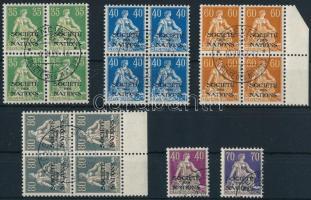 Switzerland League of Nations 1922-1924 2 stamps + 4 block of 4, Svájc Népszövetség 1922-1924 2 db bélyeg + 4 négyestömb