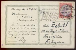 1925 Koronás Madonna 3000K bérmetnesítés képeslapon Belgiumba