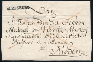 1824 Franco levél hátoldali 2kr portóval v.PRESBURG - Modern Certificate: Czirók