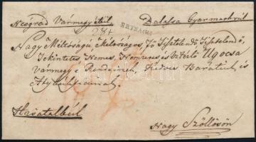1830 Hivatalos koleralevél / Cholera cover RÉTSÁGH - Nagy Szöllős