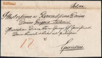 ca. 1840 Portós levél / Unpaid cover piros / red ROSENAU - Eperies
