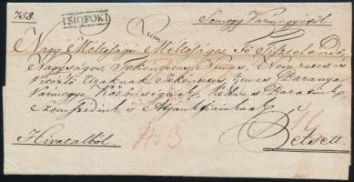 1821 Hivatalos levél / Official cover SIÓFOK - Péts