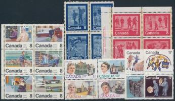 1974-1981 22 klf bélyeg, közte, párok, 4-es tömbök, 6-os tömb 1974-1981 22 stamps with pairs, blcok of 4, block of 6
