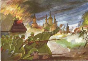 Birta Pál árkászszakasz-anyagkezelő két ellenséges csoportot semmisít meg s: Jeges Ernő, WWII Hungarian military, battle scene s: Jeges Ernő
