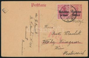 Románia 1918 Díjkiegészített díjjegyes levelezőlap Ausztriába Romania Suplementary PS-card to Austria