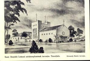 Tiszaújfalu, Szent Benedek Leányai zárdatemplomának tervrajza s: Körmendy Nándor