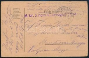 "Austria-Hungary Field Postcard ~1917, ~1917 Tábori posta levelezőlap ""M.kir. 3. honv. tábori ágyus ezred"" + ""TP 425"""