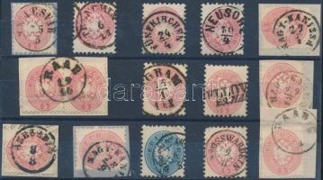15 stamps nice and readable cancellations, 15 db bélyeg szép / olvasható bélyegzésekkel