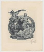 Franz von Bayros (1866-1924): Erotikus ex libris Eugene Ringer. Heliogravür, papír, jelzett, 11×10 cm.