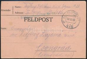 "Field postcard ""K.u.k. Feldjägerbataillon No.28"" + ""FP 416 b"" Tábori posta levelezőlap ""K.u.k. Feldjägerbataillon No.28"" + ""FP 416 b"""