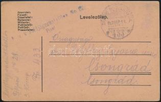 "Field postcard ""K.u.k. Feldjägerbataillon No.28. Post"" + ""TP 433 a"" Tábori posta levelezőlap ""K.u.k. Feldjägerbataillon No.28. Post"" + ""TP 433 a"""
