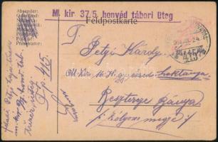 """Tábori posta levelezőlap """"M.kir. 37/5 honvéd tábori üteg"""" + """"TP 415 b"""" Austria-Hungary Field postcard """"M.kir. 37/5 honvéd tábori üteg"""" + """"TP 415 b"""""""