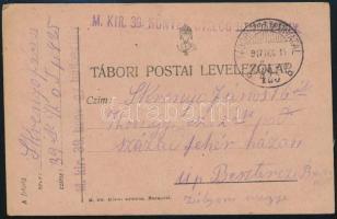 """Field postcard  """"M.KIR. 39. HONVÉD GYALOG HADOSZTÁLY"""" + """"TP 425 b"""" Tábori posta levelezőlap """"M.KIR. 39. HONVÉD GYALOG HADOSZTÁLY"""" + """"TP 425 b"""""""