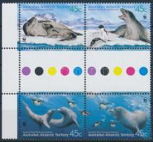 WWF; Leopárdfóka sor ívközéprészes ívszéli négyestömbben WWF Leopard Seal set gutter margin block of 4