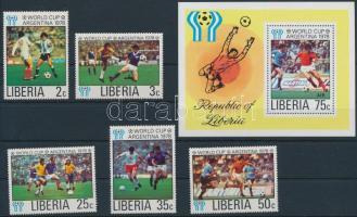 Labdarúgó VB 5 érték + blokk Football World Cup 5 stamp + block