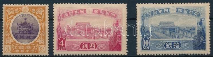 1915 Joshihito császár megkoronázása 3 érték Mi 124-126 (Mi 123 betapadás / gum disturbance)