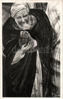Jewish old man art postcard, Judaica