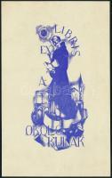 Alexey Yupatov (1911-1975): Ex libris Okolo Kulak. Litográfia, papír, jelzett a litón, 10×5 cm