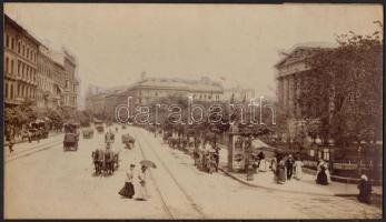 cca 1900 Budapest, V. Múzeum körút kocsikkal Nagyméretű keményhátú fotó. Erdélyi Mór (1866-1934) fotója 29x16 cm