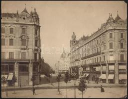 cca 1900 Budapest, V. A Kossuth Lajos utca Nagyméretű keményhátú fotó. Erdélyi Mór (1866-1934) fotója 29x22 cm Szélén hajtásnyomokkal