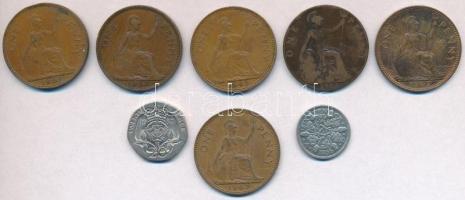 Nagy-Britannia 1912-1967. 1p Br (6x) + 1936. 6p Ag + 1982. 20p Cu-Ni T:2-3 Great Britain 1912-1967. 1 Penny Br (6x) + 1936 6 Pence Ag + 1982. 20 Pence Cu-Ni C:XF-F