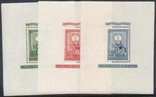 1951 80 éves a magyar bélyeg blokksor (**42.000) / Mi block 20-22 (2Ft falcnyom és ránc / hinge remainder and crease)