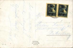 1945 (3. díjszabás) távolsági képeslap kisegítő 2x3P/50f bérmentesítéssel