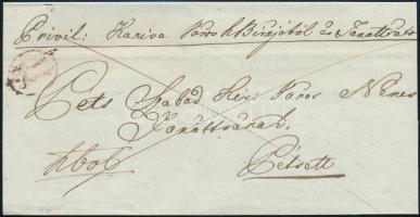 1846 Franco levél / cover piros / red G.Canisa Franco - Péts