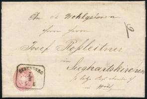 1866 5kr levélen / on cover OEDENBURG - Sieghartskirchen (luxus bélyegzés)