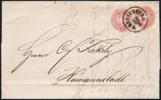 1865 5kr pár levélen / pair on cover KLAUSENBURG - Hermannstadt