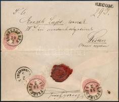 1865 3 x 5kr ajánlott levélen / on registered cover FÜNFKIRCHEN - Pest