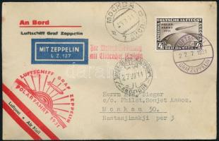 Zeppelin flight to North Pole cover franked with 4RM stamp, Zeppelin északi-sarki útja levél 4RM Polarfahrt bérmentesítéssel