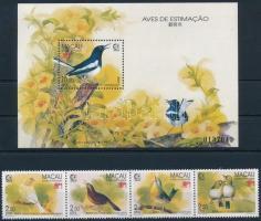 SINGAPORE nemzetközi bélyegkiállítás: énekesmadarak négyescsík + blokk SINGAPORE International Stamp Exhibition: Singing Birds stripe of 4 + block