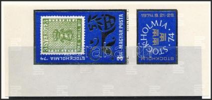 1974 STOCKHOLMIA ívsarki vágott szelvényes bélye