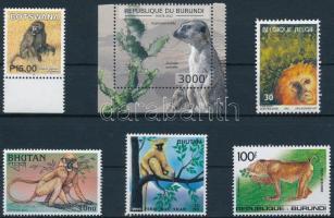 1992-2013 Majom motívum 6 klf önálló érték 1992-2013 Monkey 6 diff stamps