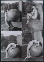 cca 1978 Fagömbre komponált aktmodell, 13 db szolidan erotikus fénykép, vintage negatívokról készült mai nagyítások, 13x9 cm / 13 erotic photos, 13x9 cm