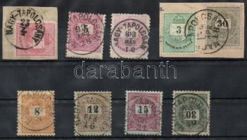 1881-89 8db NAGY-TAPOLCSÁN(Y) bélyegzés krajcáros bélyegeken