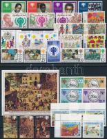 Nemzetközi gyermekév motívum 6 klf sor + 1 blokk + 4 db önálló érték 2 stecklapon International Children's 6 set + 1 block + 4 stamp