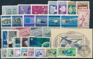 Űrkutatás 1958-1965 7 klf sor + 1 blokk + 2 klf önálló érték Space Research 1958-1965 7 sets + 1 block + 2 stamps