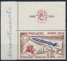 Űrkutatás szelvényes ívszéli bélyeg Space Research margin stamp with coupon