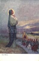Ave Maria / WWI K.u.K. military art postcard. A.F.W. III/2. Nr. 751-1. s: Setkowicz, I. világháború K.u.K. hadsereg művészeti képeslap, A.F.W. III/2. Nr. 751-1. s: Setkowicz
